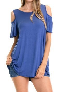 Solid Cold Shoulder Top-Slate Blue $22