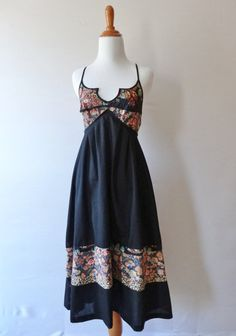 Strappy Floral & Black Vintage Flair 70's by NorthStarrVintage, $17.50
