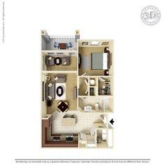 1 Bedroom 852 Sq Ft A1SB1 Ooltewah, TN Integra Preserve Floor Plans   Apartments in Ooltewah, TN - Floor Plans