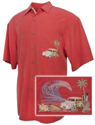 Bamboo Cay - Paradise Road - Tropical Embroidered Shirt - Tomato