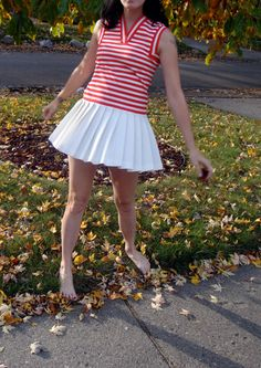 Vintage Tennis Dress / XS Red and White Tennis Dress