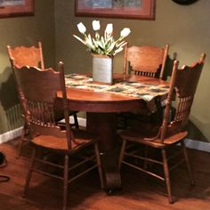 "My ""new"" dining set, 100 years old! Pressed back chairs! Fits perfect."