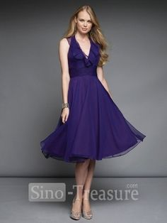 Regency Halter A-line Ruffle Knee Length Satin/Chiffon Bridesmaid Dress  $101.99+Free shipping