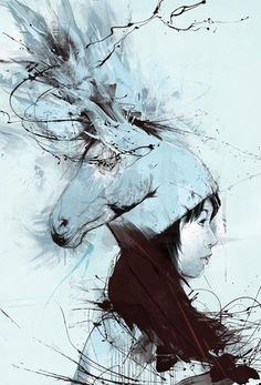 Russ Mills- Another expressive art work, a horse head s combined in the illustrated women's hat. Expressive line work outlines the illustration of the women. Only one main tone of colour has been used, which is a baby blue colour.