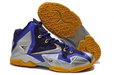 huge selection of b8266 e8fac Buy Discount Blue Silver Yellow 616175 265 Nike LeBron 11 For Sale