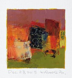 Dec. 23, 2015 - Original Abstract Oil Painting - 9x9 painting (9 x 9 cm - app. 4 x 4 inch) with 8 x 10 inch mat