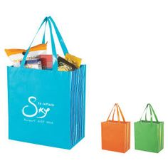Customized Shiny Laminated Non-woven Tropic Shopper Tote Bag Branded Tote Bags, Custom Tote Bags, Trade Show Giveaways, Promotional Bags, Non Woven Bags, Quality Logo Products, Shopper Tote, Cloth Bags, Bag Sale