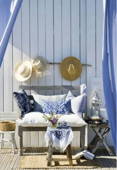 Love this outdoor living space at a beach house. Coastal Cottage, Coastal Homes, Coastal Style, Coastal Living, Coastal Decor, Cottage Porch, House Porch, Seaside Style, Cottages By The Sea