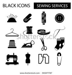vector set of black icons for sewing services including needle and thread, scissors, button, pins, hanger, iron, sewing machine, spool, fabric, mannequin, socks