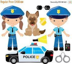 Etsy :: Your place to buy and sell all things handmade Police Officer Crafts, Community Helpers Preschool, Bag Toppers, Digital Invitations, Blog Design, Party Printables, Clipart, Handmade Crafts, Planner Stickers