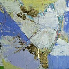 """Mapscape Water Margin, Helen Cantrell, Oil and Gold Leaf on Board, 8"""" x 8"""""""