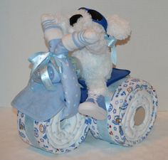 Tricycle Trike Diaper Cake Baby Shower Gift  by arizonababycakes