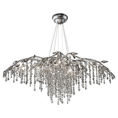 WOW! This is mighty fabulous! Branch-inspired steel chandelier with cascading crystal accents and leaf detail.  Product: ChandelierConstruction Ma...