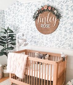 Nursery Name Sign, Inch, Baby Shower, Personalized Round plaque,… Girl Nursery Themes, Nursery Name, Nursery Room Decor, Nursery Ideas, Room Ideas, Girl Nurseries, Elephant Nursery, Rose Nursery, Neutral Nurseries
