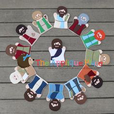 Set of Jesus and his 12 disciples 13 Hand and by TheAppliquePlace
