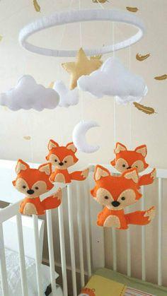 Fox mobile fox baby mobile fox nursery mobile woodland