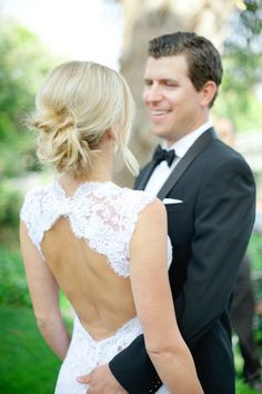 Would love lace like this and  a back like this in a short dress!