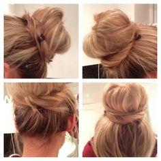 Scruffy bun using smaller bun ring! Hair Ideas, Hair Beauty, Make Up, Hairstyle, Boho, Ring, Nails, Projects, Fashion