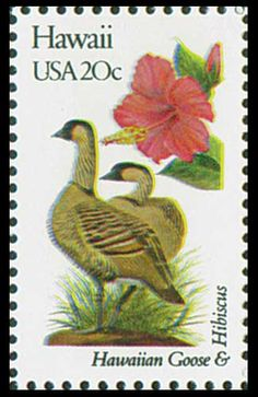 1982 Hawaii State Stamp - State Bird Hawaiian Goose - State Flower Hibiscus