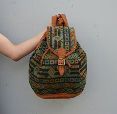 1980s LEATHER BACKPACK / Large Woven Ethnic by luckyvintageseattle