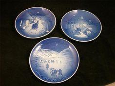 Three VTG B&G Bing & Grondahl Copenhagen Porcelain Christmas Plates DENMARK EUC