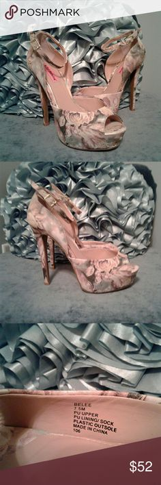 Betsey Johnson Floral Stilettos Very gently pre loved women's Betsey Johnson Floral print platform stiletto..BEAUTIFUL!!! Great condition worn once!! Peep toe with thin ankle strap buckle. Gold Betsey Johnson logo on bottoms. Size 7.5. Thanks for looking!!! Betsey Johnson Shoes Heels
