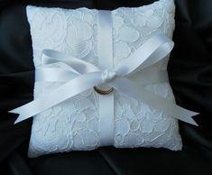 Wedding Ring Bearer Pillow, Cushion, White Lace, White Satin Ribbon £10.00