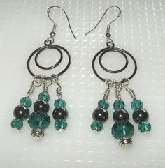 Hematite and Teal Crystal Earrings by BevmarDesigns on Etsy, $20.00