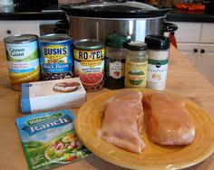 Ritas Recipes: Crock Pot Cream Cheese Chicken  2 chicken breasts, still frozen 1 can Rotel tomatoes 1 can corn kernels, do not drain 1 can black beans, drained and rinsed 1 pkg. Ranch dressing mix 1 T cumin 1 t chili powder 1 t onion powder 1 8-oz pkg. cream cheese  Cook on low for 6-8 hours, stirring one or twice  to blend in the cheese. Shred the chicken into large pieces and serve over rice. Serves 4
