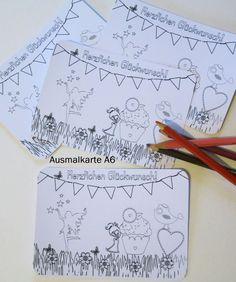 Ausmalkarte,Karte,Postkarte+Herzlichen+Glückwunsch+von+ღKreawusel-Designღ+auf+DaWanda.com