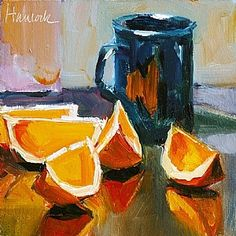 """Orange Slices and Black Cup by Gretchen Hancock Oil ~ 6"""" x 6"""""""