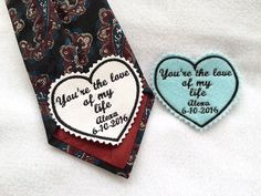 SET OF 2 - Groom Tie Patch and Something Blue Bridal Patch - Gift for the Groom, Iron On Tie Patch, Sew On Tie Patch, The Love of My Life