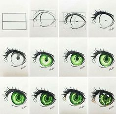 ▷ ideas and inspirations on how to draw eye - drawing for beginners, drawing manga eyes, green eye, indication in pictures - Realistic Eye Drawing, Drawing Eyes, Manga Drawing, Drawing Sketches, Art Drawings, Sketching, Manga Eyes, Manga Anime, Regard Animal