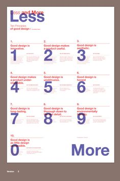Less and More on Inspirationde Ten Principles of good design Magazine Layout Design, Book Design Layout, Print Layout, Graphic Design Posters, Graphic Design Typography, Graphic Design Inspiration, Typography Layout, Editorial Layout, Editorial Design