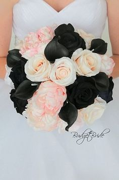 Blush pink and black wedding flower brides bouquet with black calla lilies, black roses, pink peonies and blush roses