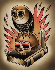 Owl and Skull Traditional Tattoo