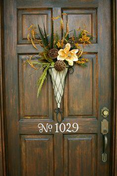 Tutorial.....easy! Fall Door Decorations, Fall Arrangements, Autumn Decorating, Front Door Decor, Door Wreaths, Fall Wreaths, House Numbers, Door Numbers, Home Projects