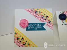 www.stampenvy.ca, stampin' up, simply pressed clay, gingham garden washi tape, banner greetings