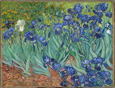 Lirios, por Van Gogh (1889, Paul Getty Museum, Los Ángeles). La naturaleza, las plantes y más aún los lirios son habituales en la decoración de estampas y biombos japoneses
