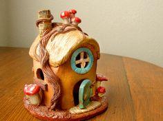 Tea Light Gnome House, Ceramic Pottery Clay, Little Clay House Decor. $45.00, via Etsy. SO stinking cute!