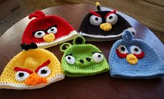 Crocheted Angry Birds hats