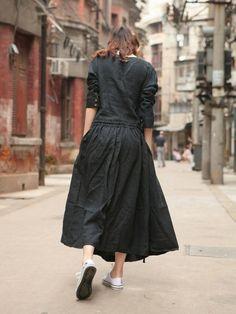 リネンのロングワンピース 自然素材の麻を100%使用したハンドメイド、カスタムオーダーのお洋服を販売しています。 天然生活雑貨 ナチュラルマインド
