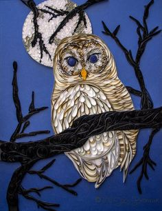 Quilled Barred Owl in the Moonlight - 11x14  #owl #quilling #moonlight