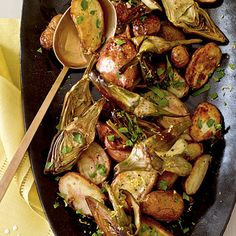 Roasted Fingerling Potatoes and Baby Artichokes   This simple side dish features in-season baby artichokes and fingerling potatoes roasted to perfection. Toss with a small amount of butter, fresh parsley, and grated lemon rind just before serving.