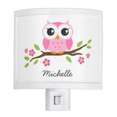 Cute night light featuring a cartoon illustration of a little pink owl sitting on a branch with green leaves and pink flowers. Add a name or other text. Cute and fun design for children. Customer review: It was just as ordered and good quality