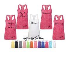 Bridesmaid Burnout Racerback Tank Top, Bride Shirt, Bride Tank Top, Bridesmaid Shirt, Bridal Party Shirts, Bachelorette by AMPedUpTeeShop on Etsy