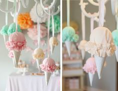 Faux hanging ice cream cones