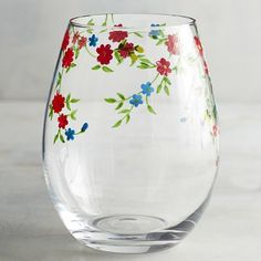 Red Flower Painted Stemless Wine Glass from Pier 1 - paint your own! Painted Glass Vases, Painted Wine Bottles, Glass Bottle Crafts, Bottle Art, Glass Painting Designs, Verre Design, Hand Painted Wine Glasses, Bottle Painting, Glass Art