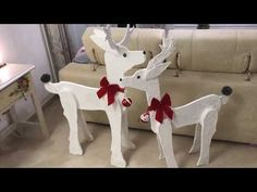This stand up wooden Reindeer is perfect for your entryway, front porch or even next to your tree! Then easily disassemble to pack away wi… Christmas Wood Crafts, Christmas Deer, Christmas Ornaments, Xmas, Reindeer Decorations, Outdoor Christmas Decorations, Holiday Decor, Wooden Reindeer, Reindeer Antlers