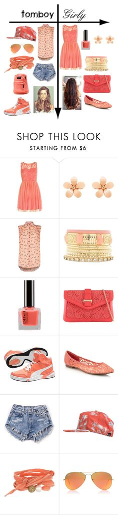 """""""Tomboy vs. Girly: Peach"""" by mustachiopistachio ❤ liked on Polyvore featuring Forever New, Charlotte Russe, ALDO, Puma, Faith, ...Lost, The Cool People, Ray-Ban and JanSport"""